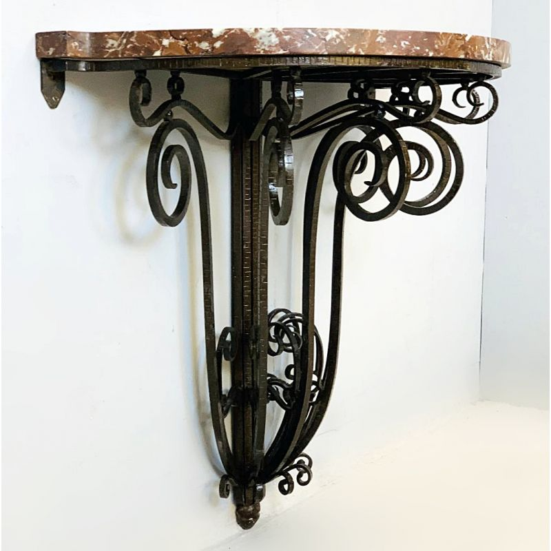 vintage console table art deco wrought iron and marble 1930