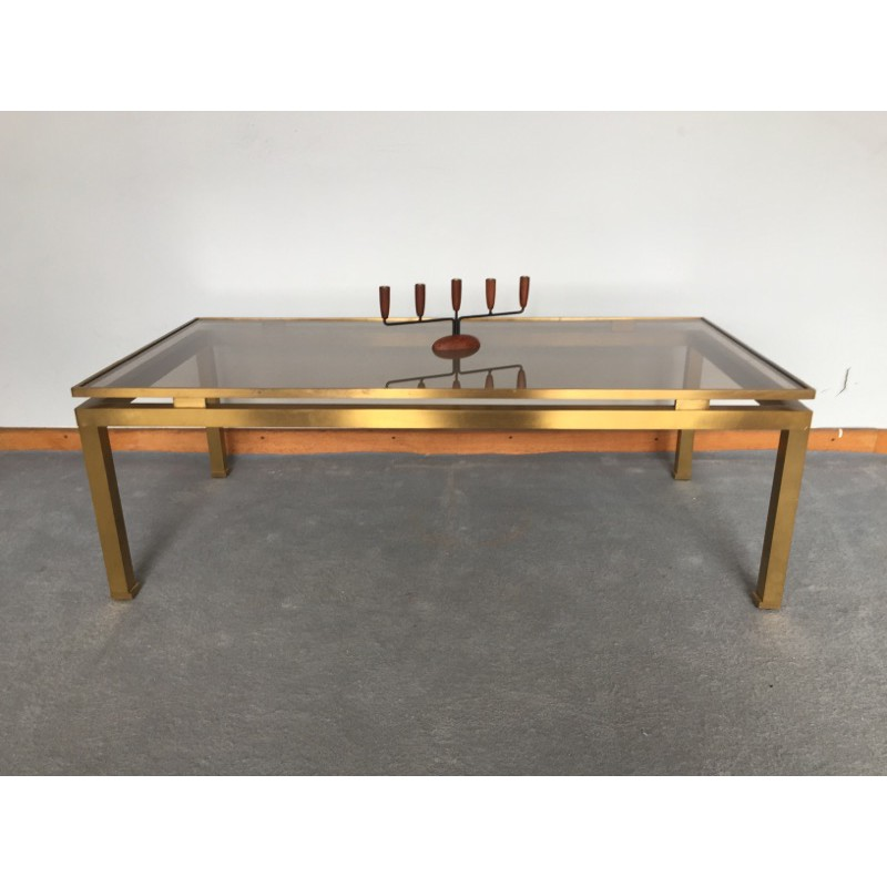 maison jansen coffee table in brass and glass guy lefevre 1970s design market