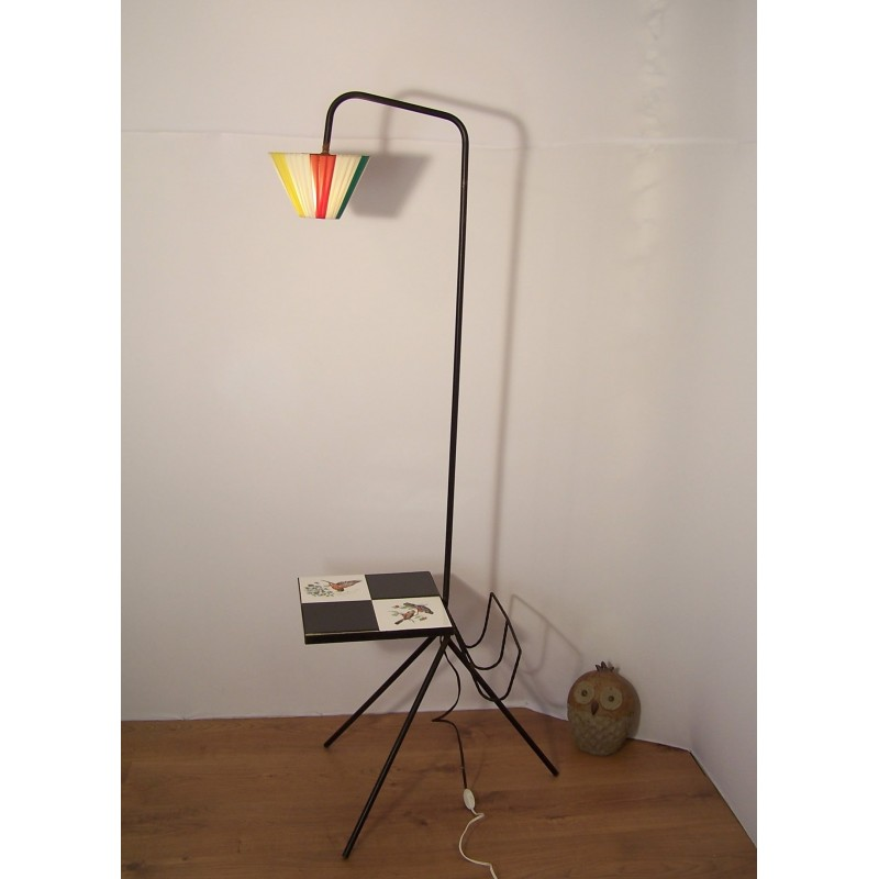 tripod floor lamp in metal with magazine rack and tablets 1950s