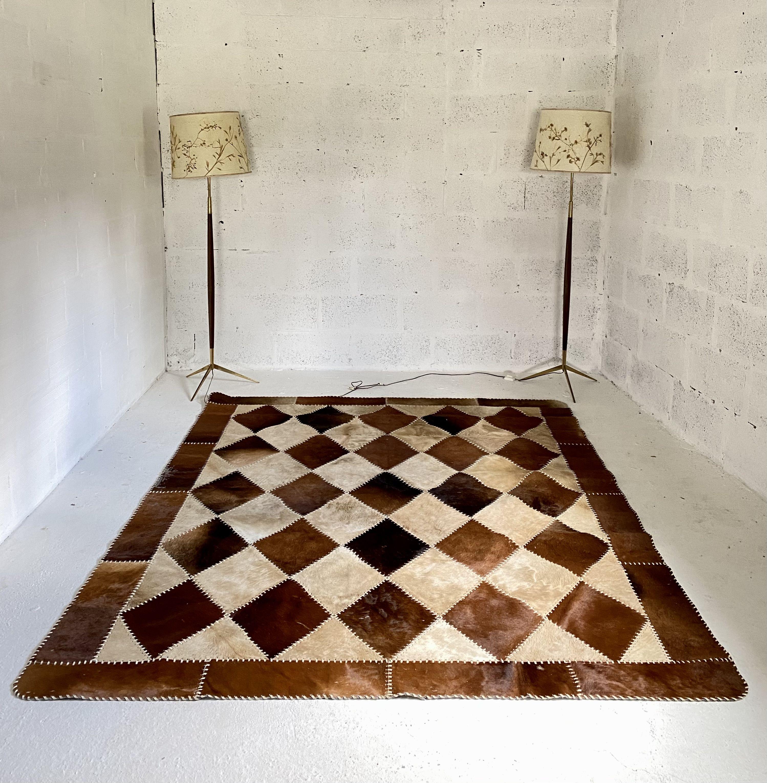 vintage patchwork cowhide rug 1980s