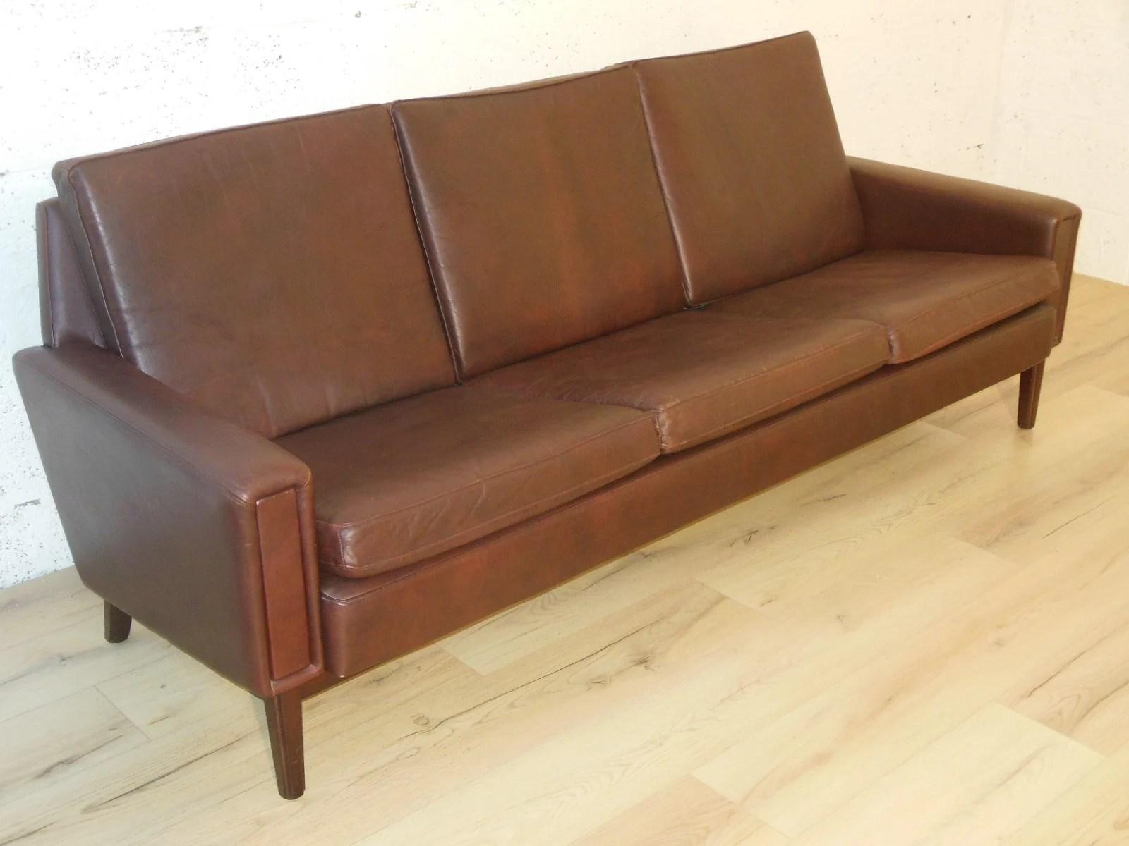 Mid Century Modern Scandinavian Sofa In Leather 1960s