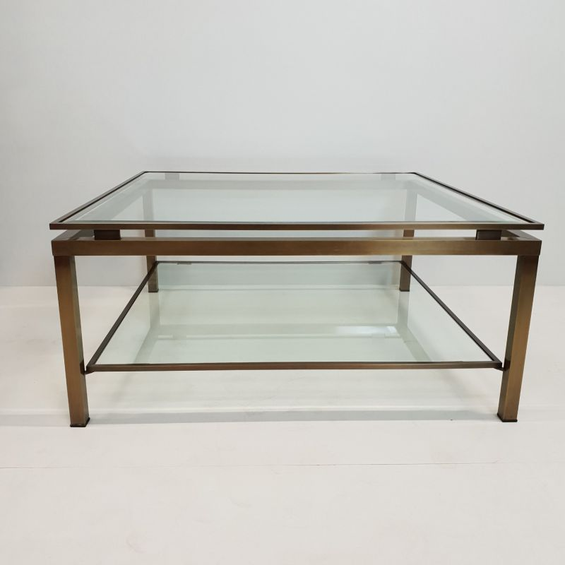vintage square coffee table in brass with 2 shelves in glass by maison jansen