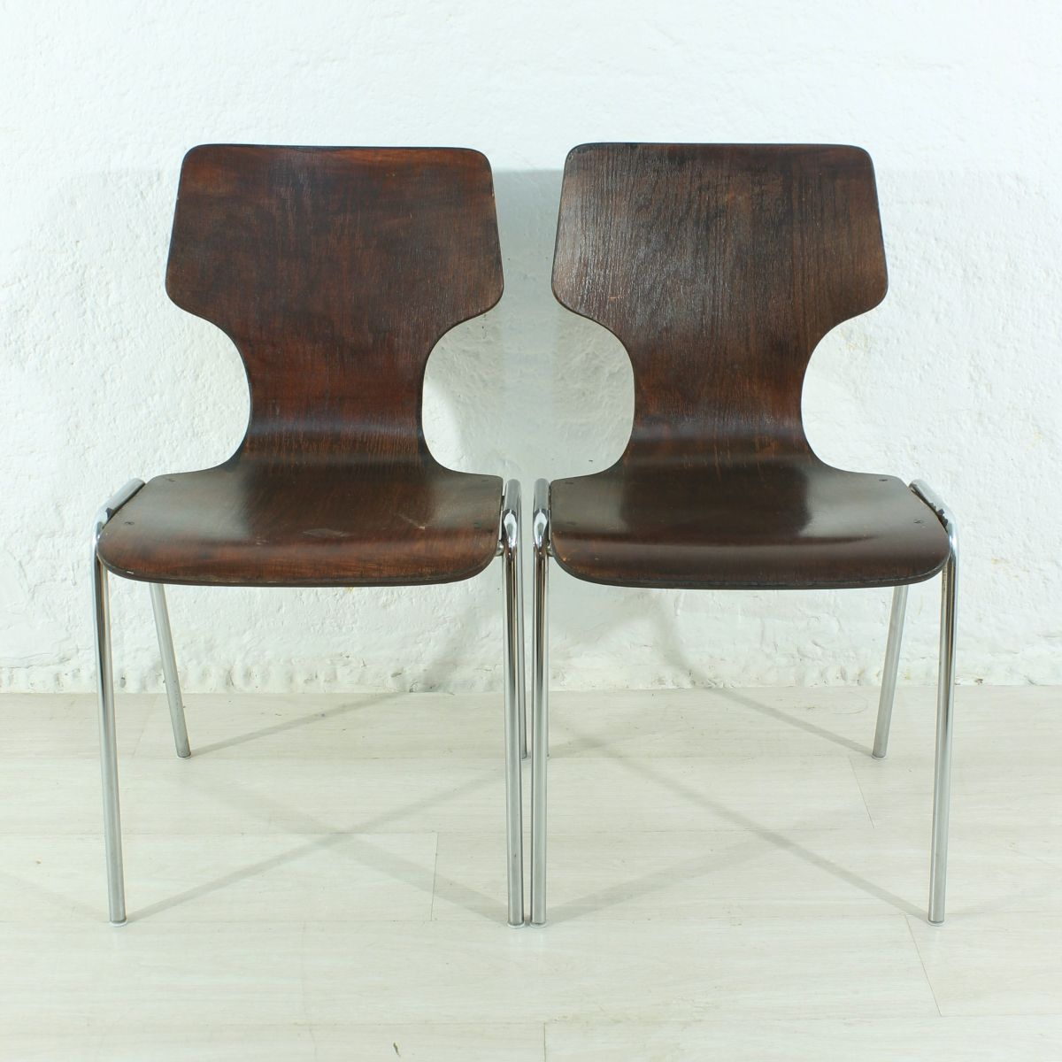 Set Of 2 Vintage Stackable Chairs In Bentwood And Metal 1970
