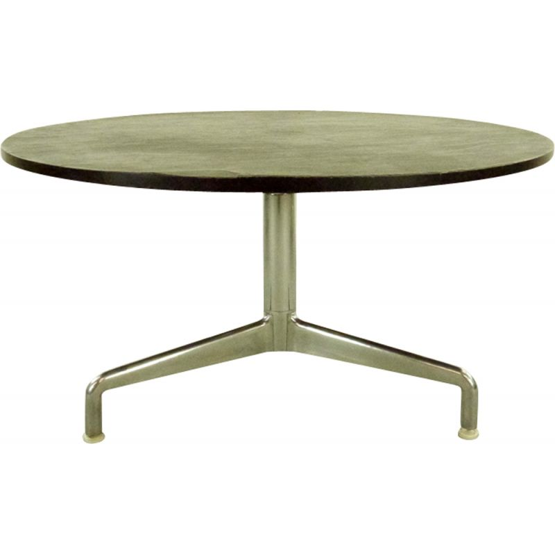 round coffee table in aluminum with tripod base