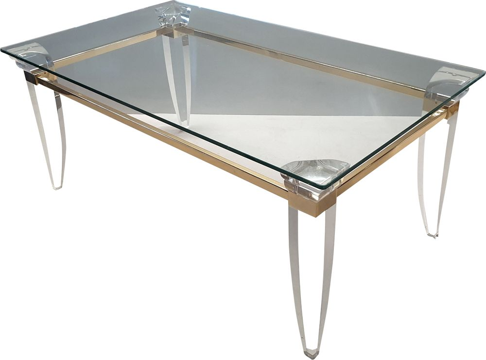 vintage lucite gold plating and glass coffee table with assymetrical table legs