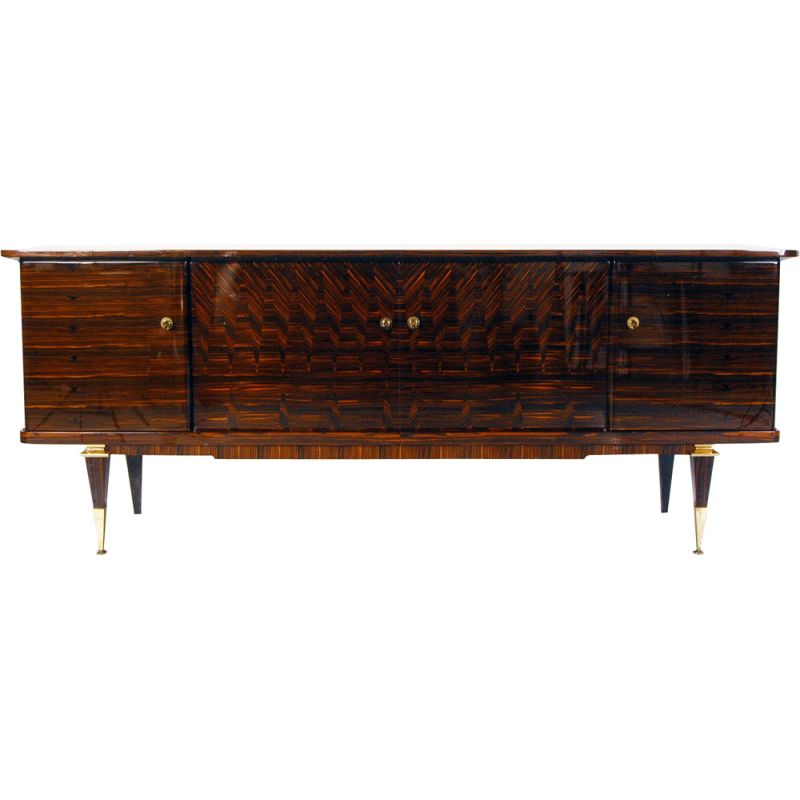 vintage sideboard lacquered art deco in macassar ebony and maple france 1940s