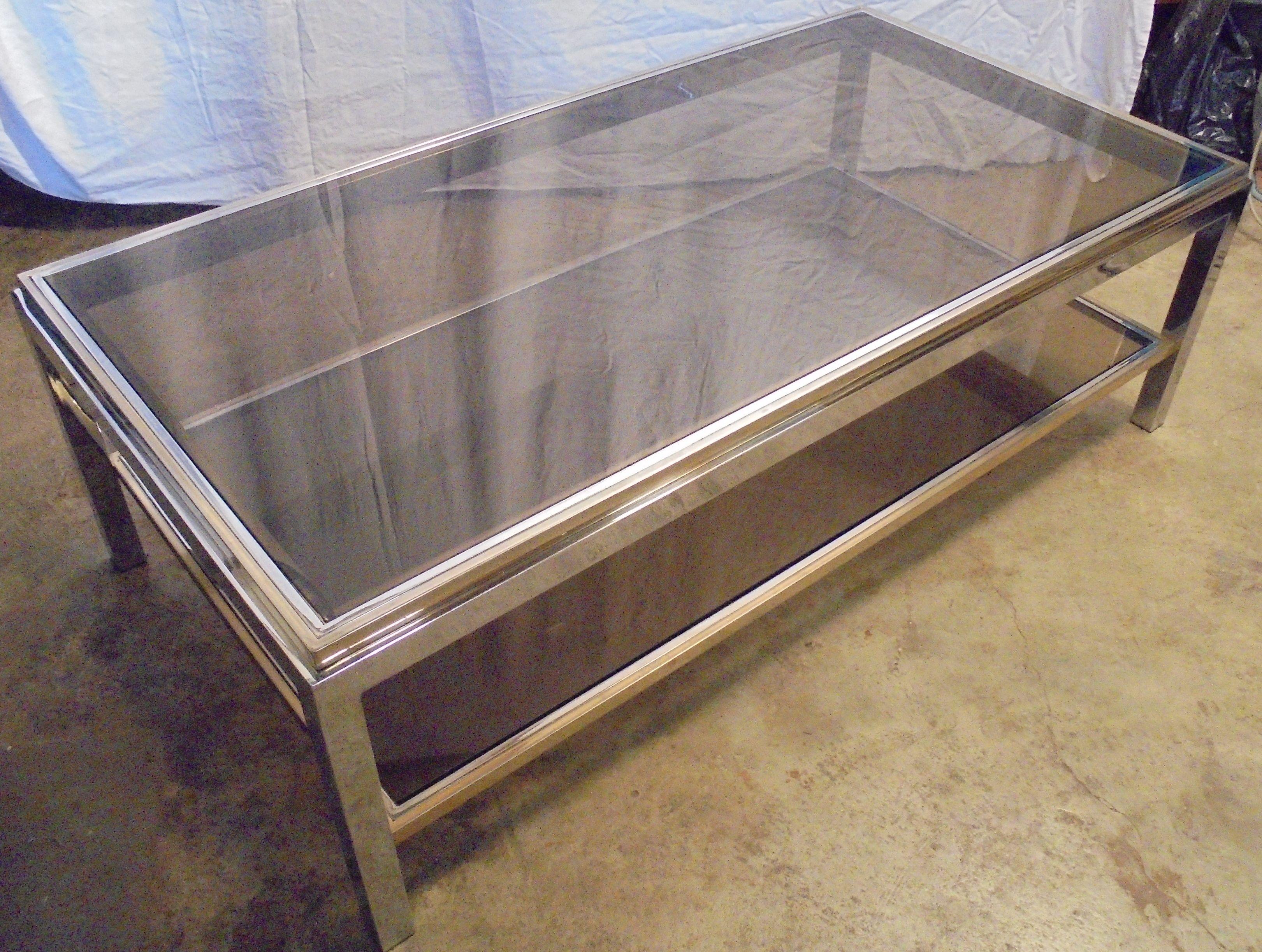 table basse vintage en verre et laiton 1970