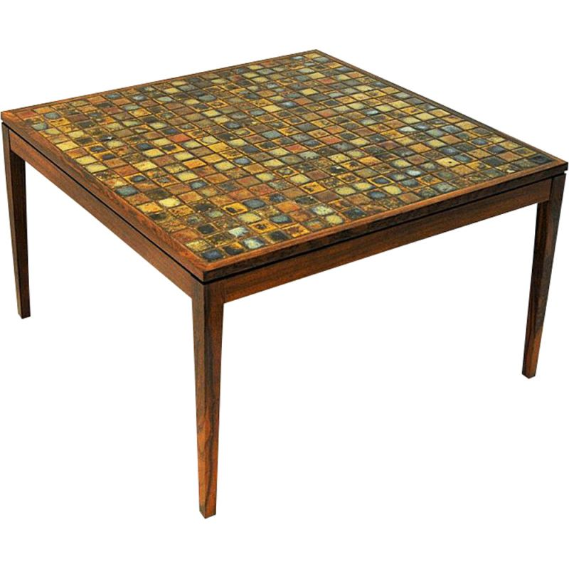 vintage rosewood table with small ceramic tiles denmark 1960s