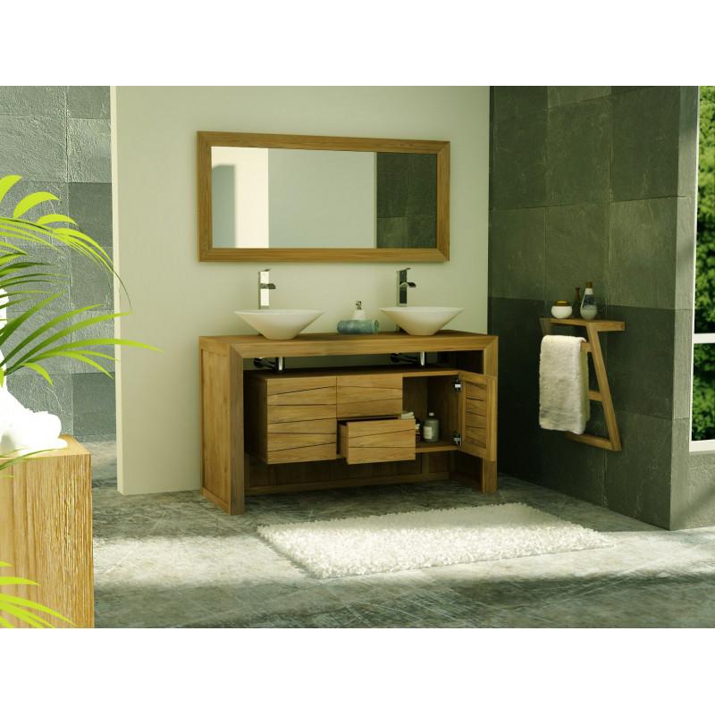 meuble salle de bain sentani en teck massif avec 2 tiroirs et 2 portes