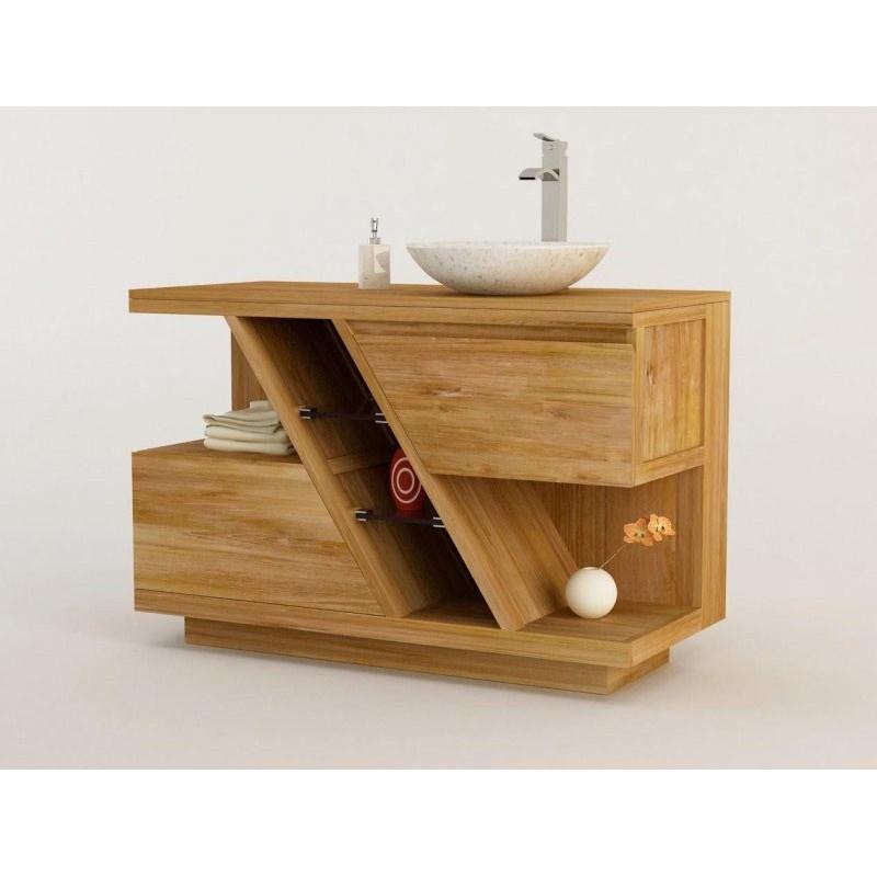 Meuble Teck Salle De Bain DIAGONAL Simple Vasque Poser