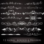 12 Vector Floral Borders and Dividers