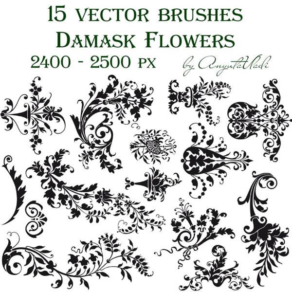 Free damask flowers photoshop gimp brushes design share