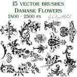 Free Damask Flowers Photoshop Gimp Brushes