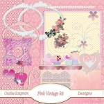 Pink Vintage Scrapbook Kit