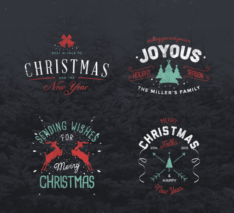 4 Vintage Christmas Badges Freebie