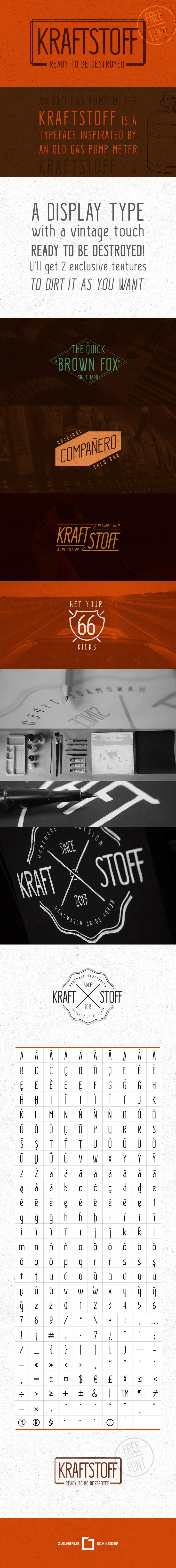 Krafstoff Typeface - Hand Drawn Display Font