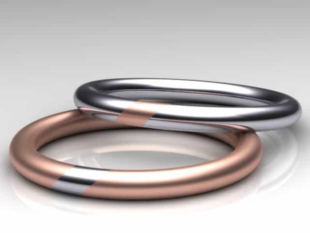 Eheringe platin rotgold  Trauringe Platin - Design2100