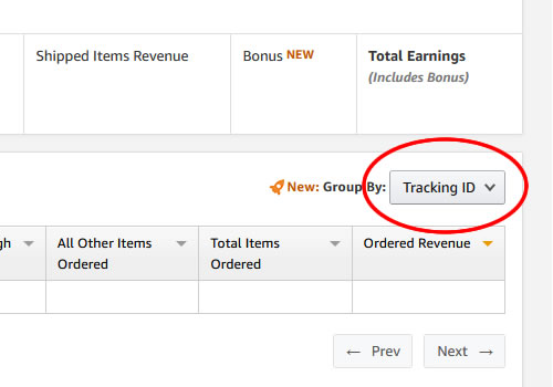 Group By: Tracking ID for the total Ordered Revenue