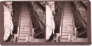 Stereoview of the early wooden stairs