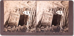 Stereoview of Morrison at the cave entrance