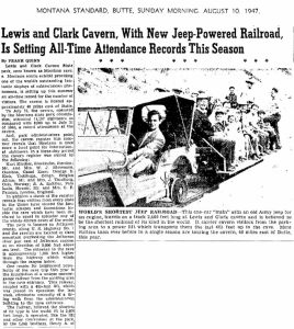 Lewis and Clark Cavern, With New Jeep-Powered Railroad