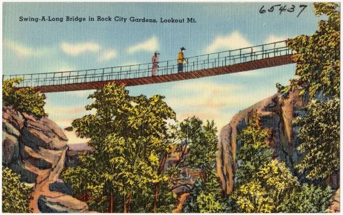 Old Postcard of Swing-a-long Bridge at Rock City Gardens