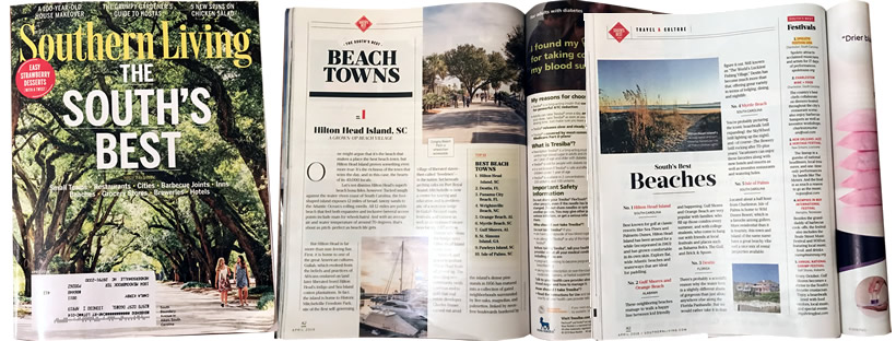 Hilton Head Island, SC, No. 1 of the South's Best Beaches and Beach Towns Southern Living April 2018 The South's Best Issue
