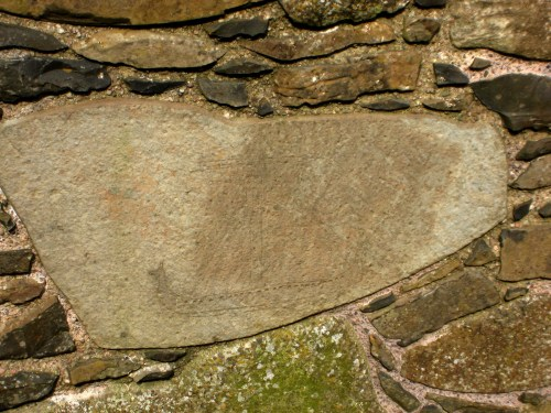 Viking ship or galley scratched into the stone of Dunluce Castle