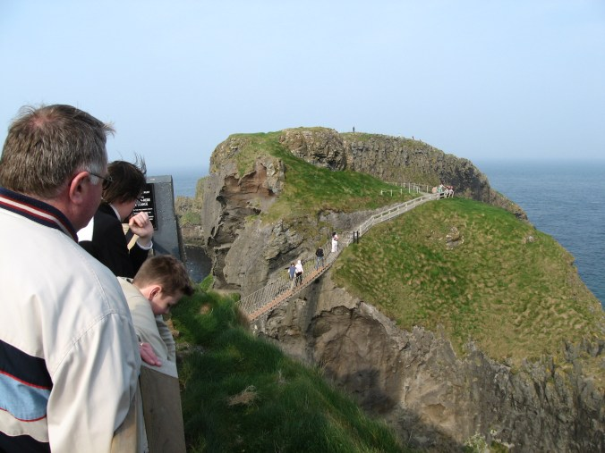 Carrick-a-Rede Island and the sheer cliffs around Carrick-a-Rede Rope Bridge.