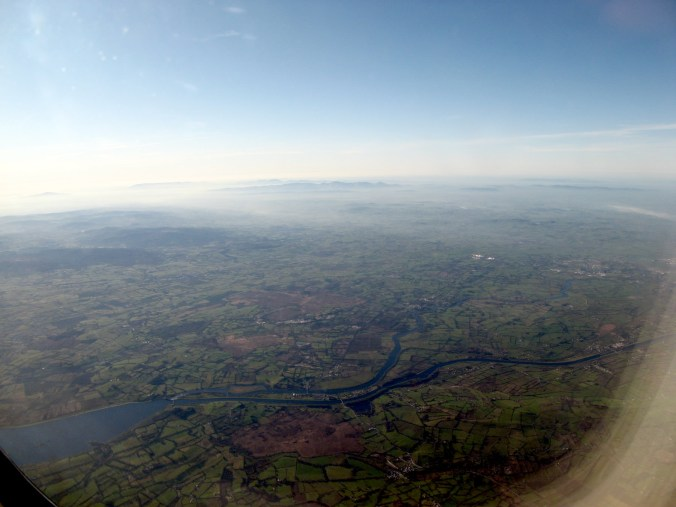 It is really hard to figure things out from the air. What river is this? Delta business class to Ireland