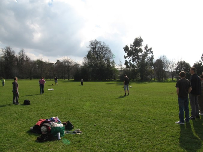 Playing Rounders in Killinardan Park, Whitestown, Dublin, Ireland (I think)
