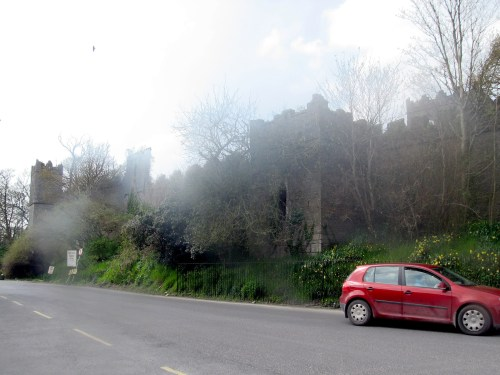The walls around Birr Castle from Castle Street in the town of Birr in County Offaly, Ireland