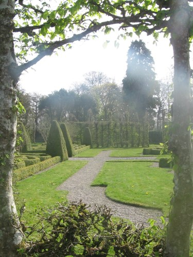 Formal Garden at Birr Castle Gardens, through the hornbeam cloistered walk