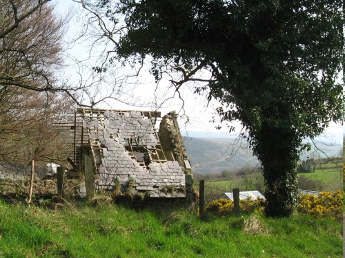 Ruined house with slate roof