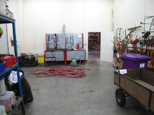 Carpentry shop and landscaping equipment at Ireland's Bethel
