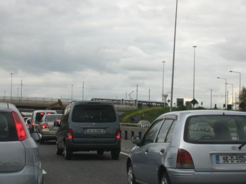 Driving toward Dublin Airport