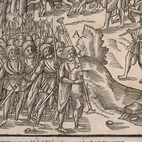 """A plate from The Image of Irelande, by John Derrick, published in 1581 """"An armed company of the kerne, carrying halberds and pikes and led by a piper, attack and burn a farmhouse and drive off the horses and cattle."""" - Bagpipes in Ireland - A Different Visit to Ireland"""