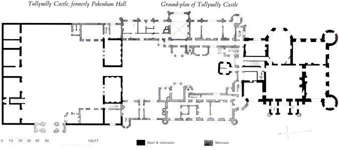 Ground-plan of Tullynully Castle, formerly Pakenham Hall from Irish Houses & Castles by Desmond Guiness and William Ryan