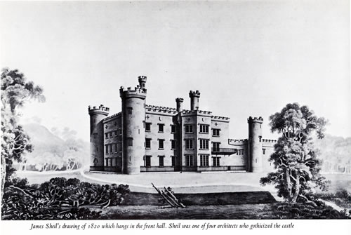 James Sheil's drawing of Tullynully Castle in 1820 Photo from Irish Houses & Castles by Desmond Guiness and William Ryan