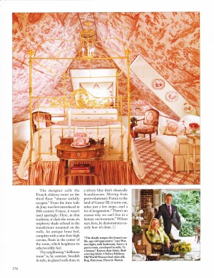 French Chateau Room, Lismore Castle in raspberry toile.