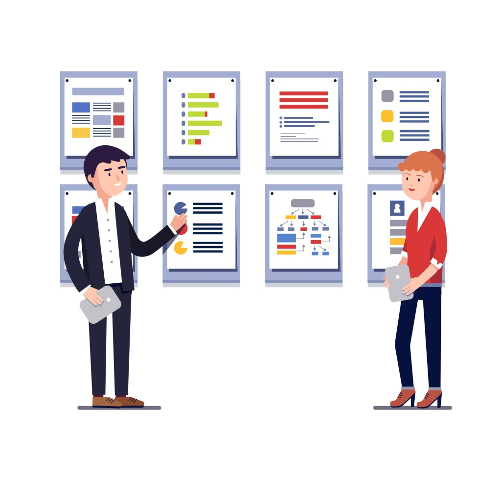 Young entrepreneurs man and woman showing startup business project plan presentation on framed cards. Modern colorful flat style vector illustration isolated on white background.