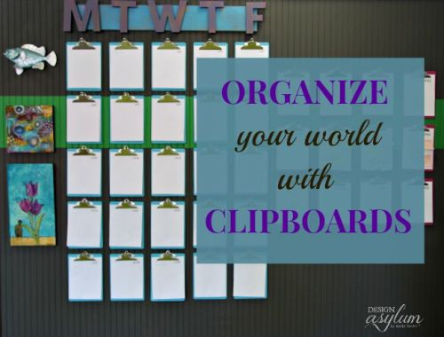 Designer Kellie Smith keeps her scheduling chaos under control with a clipboard wall calendar.
