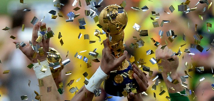 Brazil's defender Thiago Silva raises the trophy as the team celebrates winning the FIFA Confederations Cup Brazil 2013 football tournament by defeating Spain 3-0 in the final, at the Maracana Stadium in Rio de Janeiro.