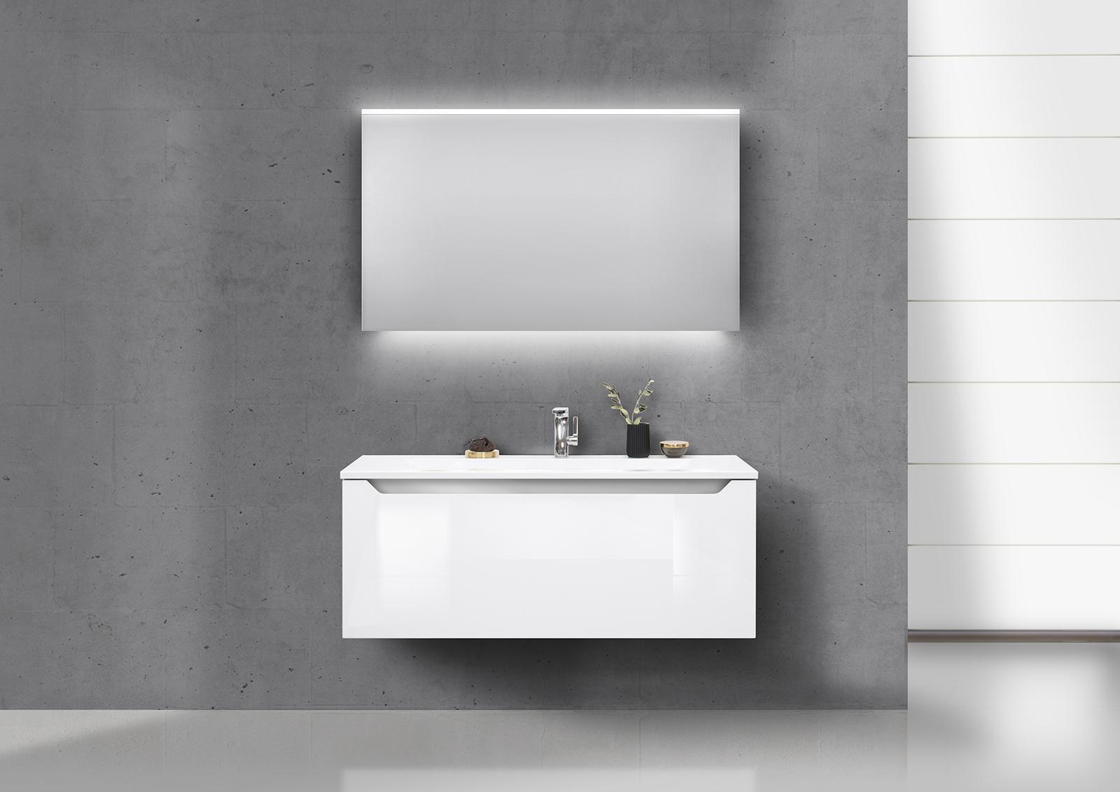 Badmobel Set Grifflos 120 Cm Waschbecken Unterschrank Mit