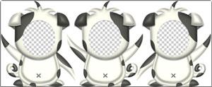 白黒ブチの犬の顔抜きパーツ