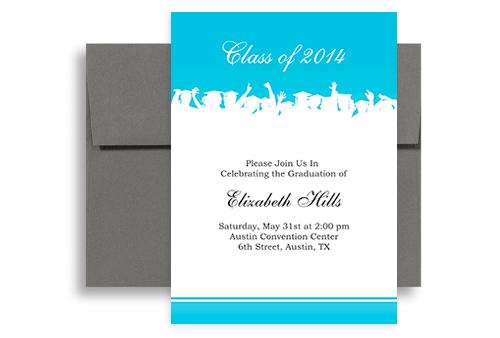 2019 Formal Blue White Graduation Invitation Example 5x7
