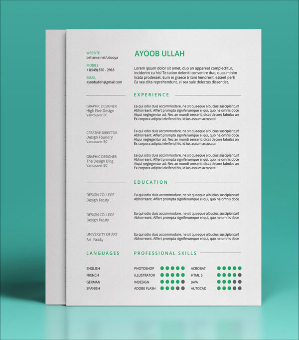The best free resume creator online today! 10 Best Free Resume Cv Templates In Ai Indesign Psd Formats