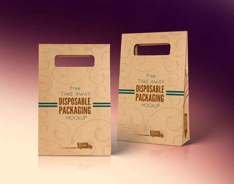 Download Free Kraft Paper Disposable Food Bag Packaging Mockup PSD ...