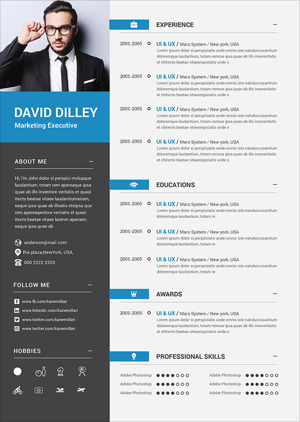 50 Free Resume CV Template In Photoshop PSD Format For Graphic Amp Web Designers
