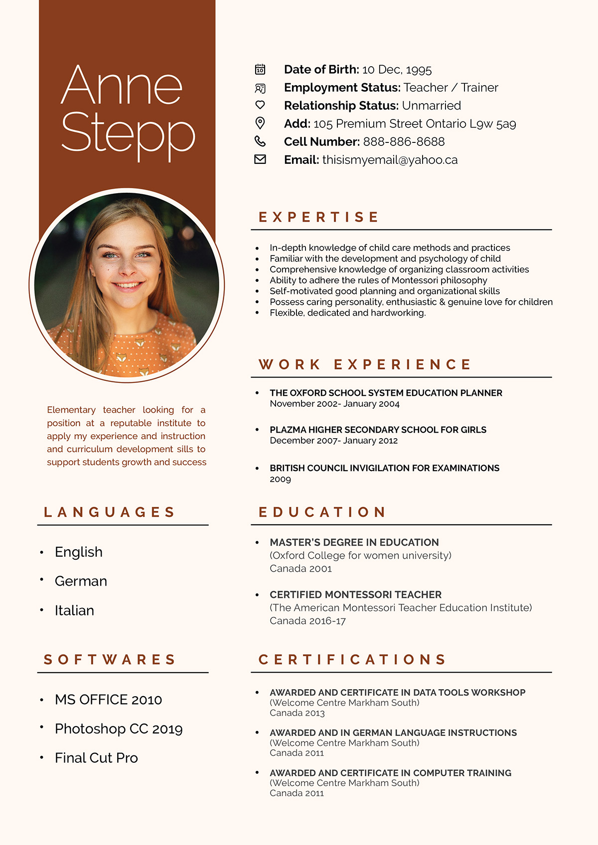 Free Resume Design Template For Teachers And